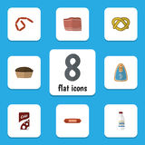 Flat Icon Eating Set Of Bratwurst, Fizzy Drink, Canned Chicken And Other Vector Objects. Also Includes Cookie, Meat. Flat Icon Eating Set Of Bratwurst, Fizzy Stock Photos