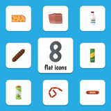 Flat Icon Eating Set Of Cheddar Slice, Kielbasa, Spaghetti And Other Vector Objects. Also Includes Bratwurst, Meat. Flat Icon Eating Set Of Cheddar Slice Royalty Free Stock Photography