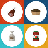 Flat Icon Eating Set Of Meat, Tart, Ketchup And Other Vector Objects. Also Includes Sugar, Beef, Tasty Elements. Royalty Free Stock Photos