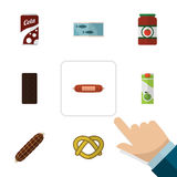 Flat Icon Eating Set Of Packet Beverage, Cookie, Kielbasa And Other Vector Objects. Also Includes Bratwurst, Tomato. Flat Icon Eating Set Of Packet Beverage Stock Images