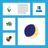 Flat Icon Ecology Set Of Cascade, Bird, Floral And Other Vector Objects. Also Includes Floral, Fruit, Flower Elements. Stock Image