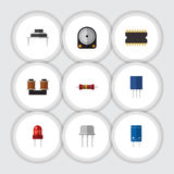 Flat Icon Electronics Set Of Coil Copper, Resistance, Microprocessor And Other Vector Objects. Also Includes Hdd Royalty Free Stock Images