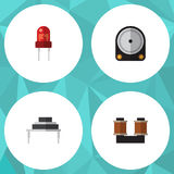 Flat Icon Electronics Set Of Destination, Hdd, Coil Copper And Other Vector Objects. Also Includes Recipient, Hard. Flat Icon Electronics Set Of Destination, Hdd Stock Photo