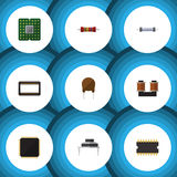 Flat Icon Electronics Set Of Destination, Resistor, Triode And Other Vector Objects. Also Includes Transistor. Flat Icon Electronics Set Of Destination, Resistor Royalty Free Stock Image