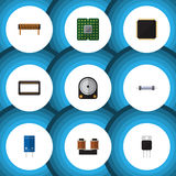 Flat Icon Electronics Set Of Mainframe, Unit, Transistor And Other Vector Objects. Also Includes Set, Copper Stock Images