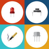 Flat Icon Electronics Set Of Recipient, Repair, Destination And Other Vector Objects. Also Includes Destination Stock Photo