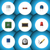 Flat Icon Electronics Set Of Repair, Microprocessor, Receptacle And Other Vector Objects. Also Includes Hard, Resistor Stock Photos