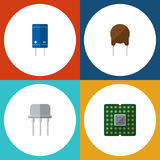 Flat Icon Electronics Set Of Resist, Unit, Triode And Other Vector Objects. Also Includes Semiconductor, Unit, Central. Flat Icon Electronics Set Of Resist, Unit Stock Photos
