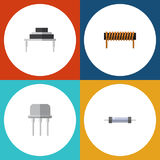 Flat Icon Electronics Set Of Resistor, Bobbin, Resist And Other Vector Objects. Also Includes Resistance, Resist, Coil Royalty Free Stock Photography