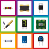 Flat Icon Electronics Set Of Resistor, Display, Repair And Other Vector Objects. Also Includes Transistor, Transducer. Flat Icon Electronics Set Of Resistor Stock Photo