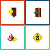Flat Icon Emergency Set Of Entry, Fire Exit, Direction Pointer And Other Vector Objects. Also Includes Pointer, Door. Flat Icon Emergency Set Of Entry, Fire Exit Stock Photos