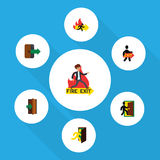 Flat Icon Emergency Set Of Exit, Evacuation, Fire Exit And Other Vector Objects. Also Includes Exit, Evacuation, Fire. Flat Icon Emergency Set Of Exit Stock Photos