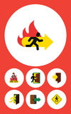 Flat Icon Emergency Set Of Fire Exit, Direction Pointer, Directional And Other Vector Objects. Also Includes Exit, Board. Flat Icon Emergency Set Of Fire Exit Stock Photo