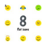 Flat Icon Emoji Set Of Angel, Asleep, Frown And Other Vector Objects. Also Includes Angel, Happy, Emoji Elements. Flat Icon Emoji Set Of Angel, Asleep, Frown royalty free illustration