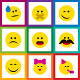 Flat Icon Emoji Set Of Cheerful, Tears, Caress And Other Vector Objects. Also Includes Frown, Fun, Party Elements. Flat Icon Emoji Set Of Cheerful, Tears royalty free illustration