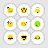 Flat Icon Emoji Set Of Cold Sweat Stock Images