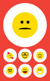 Flat Icon Emoji Set Of Displeased, Laugh, Cross-Eyed Face And Other Vector Objects. Also Includes Eyeglasses, Hush. Flat Icon Emoji Set Of Displeased, Laugh Royalty Free Stock Photo