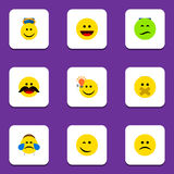 Flat Icon Emoji Set Of Frown, Angel, Winking And Other Vector Objects. Also Includes Whiskers, Hush, Face Elements. Royalty Free Stock Image