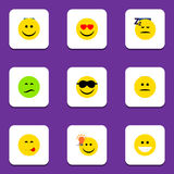 Flat Icon Emoji Set Of Frown, Asleep, Happy And Other Vector Objects. Also Includes Delicious, Eyes, Emoji Elements. Flat Icon Emoji Set Of Frown, Asleep, Happy stock illustration
