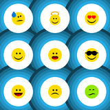 Flat Icon Emoji Set Of Frown, Happy, Love And Other Vector Objects. Also Includes Eyes, Wonder, Sad Elements. Flat Icon Emoji Set Of Frown, Happy, Love And stock illustration