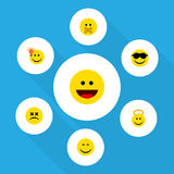 Flat Icon Emoji Set Of Happy, Cross-Eyed Face, Angel And Other Vector Objects. Also Includes Silent, Dizzy, Cheerful Stock Images