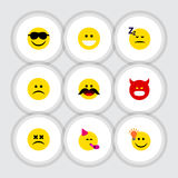Flat Icon Emoji Set Of Have An Good Opinion, Sad, Grin And Other Vector Objects. Also Includes Happy, Cheerful, Grin Stock Images