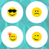 Flat Icon Emoji Set Of Have An Good Opinion, Sad, Winking And Other Vector Objects. Also Includes Sad, Smile, Winking Stock Photography