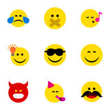 Flat Icon Emoji Set Of Hush, Pouting. Descant And Other Vector Objects Stock Photography