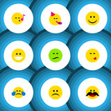 Flat Icon Emoji Set Of Joy, Frown, Cold Sweat And Other Vector Objects. Also Includes Tears, Face, Fun Elements. Flat Icon Emoji Set Of Joy, Frown, Cold Sweat royalty free illustration
