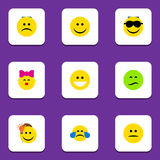Flat Icon Emoji Set Of Sad, Cold Sweat, Frown And Other Vector Objects. Also Includes Light, Happy, Kiss Elements. Flat Icon Emoji Set Of Sad, Cold Sweat, Frown stock illustration