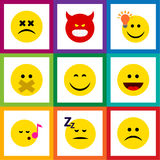 Flat Icon Emoji Set Of Smile, Asleep, Hush And Other Vector Objects. Also Includes Smile, Laugh, Idea Elements. Royalty Free Stock Photo