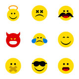 Flat Icon Emoji Set Of Smile, Hush, Angel And Other Vector Objects. Also Includes Face, Emoticon, Happy Elements. Stock Image