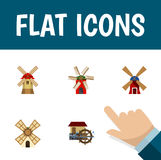 Flat Icon Energy Set Of Wind Energy, Turbine, Windmill And Other Vector Objects. Also Includes Wind, Propeller Stock Photos