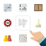 Flat Icon Entertainment Set Of Poker, People, Dice And Other Vector Objects. Also Includes Guess, Renju, Maze Elements. Royalty Free Stock Image