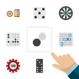 Flat Icon Entertainment Set Of Sea Fight, Lottery, Chequer And Other Vector Objects. Also Includes Domino, Arrow Stock Photography