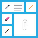 Flat Icon Equipment Set Of Knife, Straightedge, Fastener Page And Other Vector Objects. Also Includes Cutter, Blade, Nib Royalty Free Stock Photo