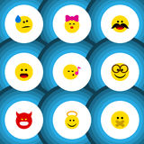 Flat Icon Expression Set Of Caress, Hush, Angel And Other Vector Objects. Also Includes Sing, Confused, Face Elements. Royalty Free Stock Photos