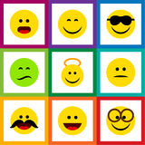 Flat Icon Expression Set Of Cheerful, Pleasant, Smile And Other Vector Objects. Also Includes Whiskers, Sad, Joy. Flat Icon Expression Set Of Cheerful, Pleasant Royalty Free Stock Photos