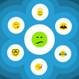 Flat Icon Expression Set Of Cold Sweat, Frown, Cheerful And Other Vector Objects. Also Includes Emoji, Pleasant. Flat Icon Expression Set Of Cold Sweat, Frown royalty free illustration