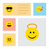 Flat Icon Expression Set Of Cross-Eyed Face, Angel, Descant And Other Vector Objects. Also Includes Laugh, Song, Sing Elements. Flat Icon Expression Set Of Stock Images