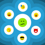 Flat Icon Expression Set Of Delicious Food, Frown, Happy And Other Vector Objects. Also Includes Sad, Grin, Emoji. Flat Icon Expression Set Of Delicious Food royalty free illustration