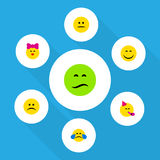 Flat Icon Expression Set Of Displeased, Smile, Frown And Other Vector Objects. Also Includes Emoji, Displeased, Joy. Flat Icon Expression Set Of Displeased royalty free illustration