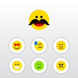 Flat Icon Expression Set Of Frown. Love, Hush And Other Vector Objects vector illustration