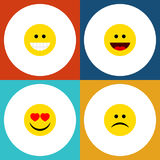 Flat Icon Expression Set Of Grin, Love, Laugh And Other Vector Objects. Also Includes Sad, Frown, Smile Elements. Flat Icon Expression Set Of Grin, Love, Laugh royalty free illustration