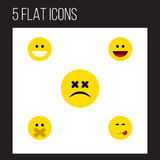 Flat Icon Expression Set Of Hush, Laugh, Grin And Other Vector Objects. Also Includes Food, Face, Smile Elements. Royalty Free Stock Image