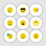 Flat Icon Expression Set Of Hush. Tears, Descant And Other Vector Objects Royalty Free Stock Photo