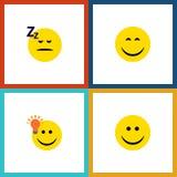 Flat Icon Expression Set Of Joy Royalty Free Stock Photography