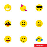 Flat Icon Expression Set Of Laugh, Hush, Winking And Other Vector Objects. Also Includes Whiskers, Hush, Sad Elements. Stock Photo