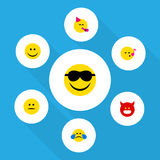 Flat Icon Expression Set Of Party Time Emoticon, Happy, Displeased And Other Vector Objects. Also Includes Song, Fun Stock Image