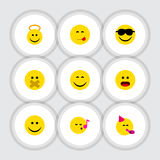 Flat Icon Expression Set Of Party Time Emoticon, Smile, Happy And Other Vector Objects. Also Includes Confused, Food Stock Photo
